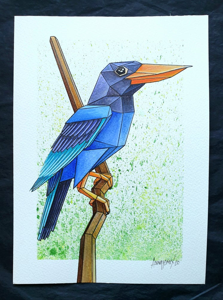 "Image of ""Java Blue"" original watercolour study"