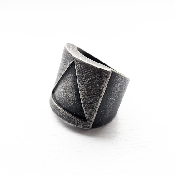 Image of Oxidised Solid Triangle Ring