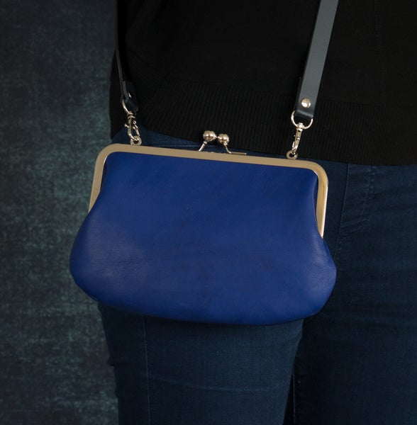 Image of Blue leather shoulder bag with cross-body strap