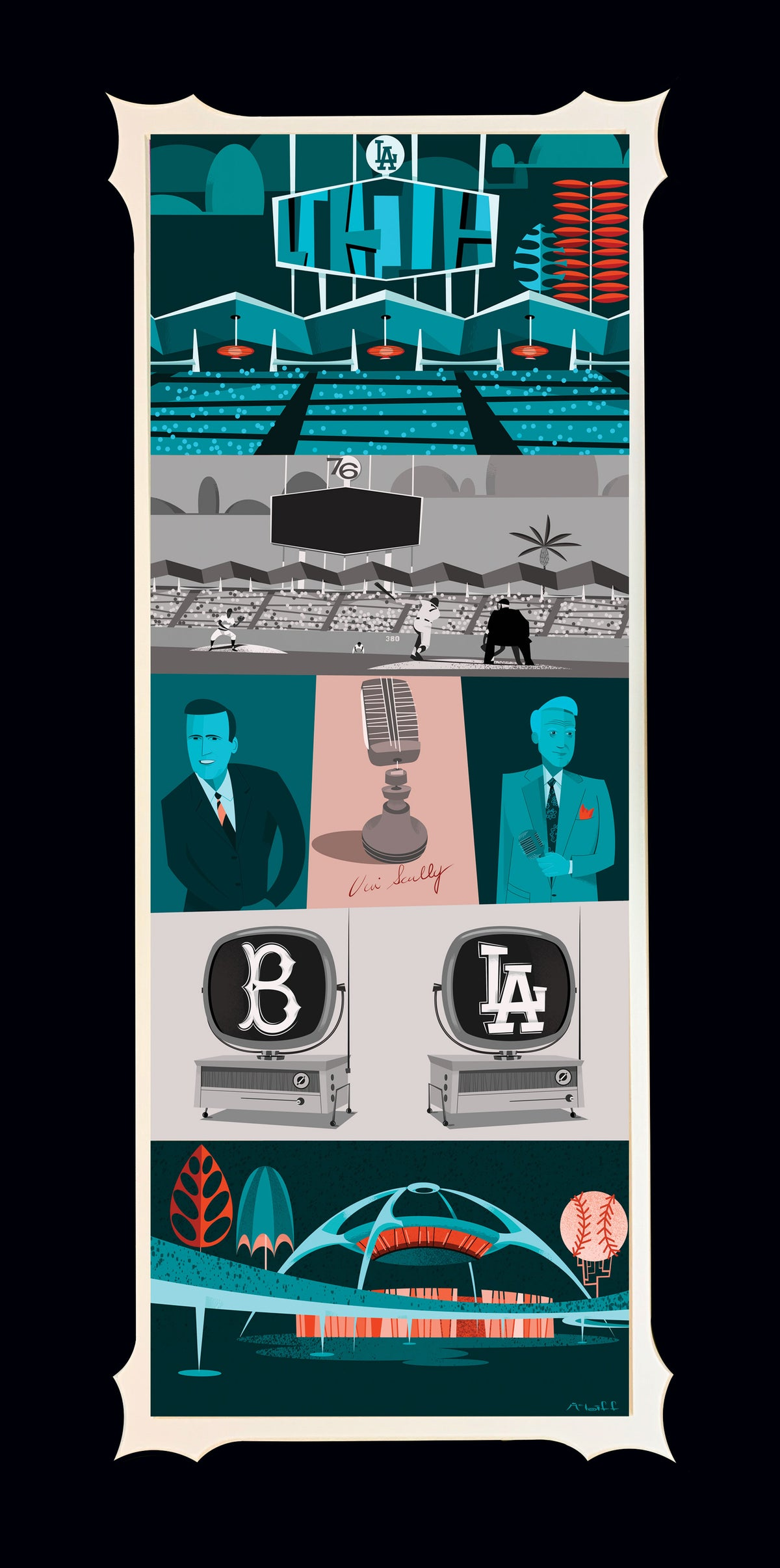 """""""It's Time for Dodger's Baseball"""" Matted deluxe print. Signed by Mcbiff."""