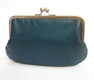 Image of Teal leather shoulder bag with cross-body strap