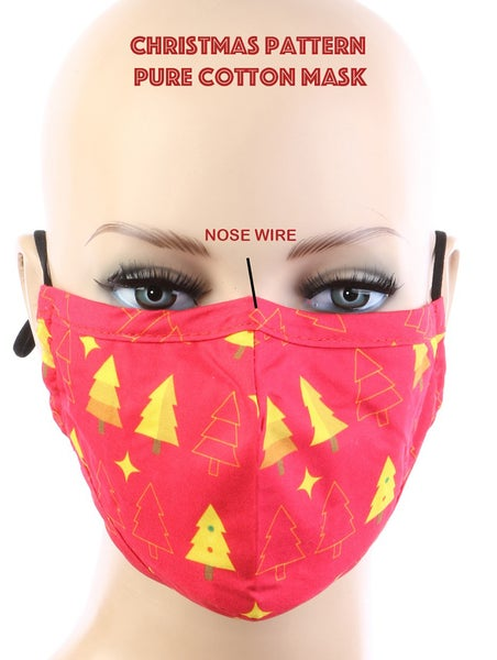 Image of RED AND YELLOW HOLIDAY MASK