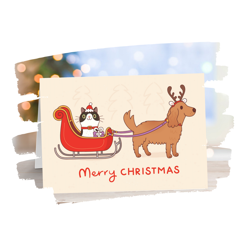 Image of Cat & Dog Christmas Card
