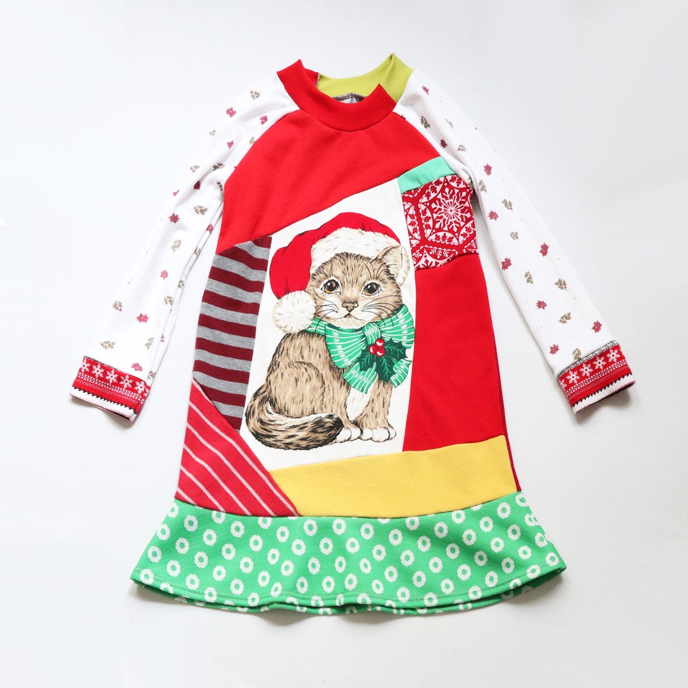 Image of kitty cat bow 5T Christmas long sleeve holiday dress vintage fabric long-sleeved xmas cute Santa hat