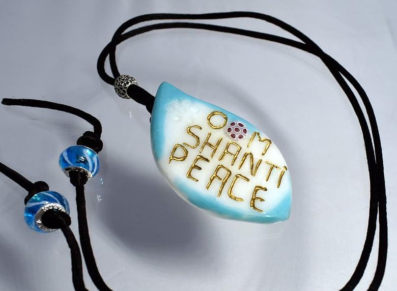"""Image of Pate de Verre Glass Pendant  """"OM Shanti Peace"""" Lotus Petal with Millefiori"""
