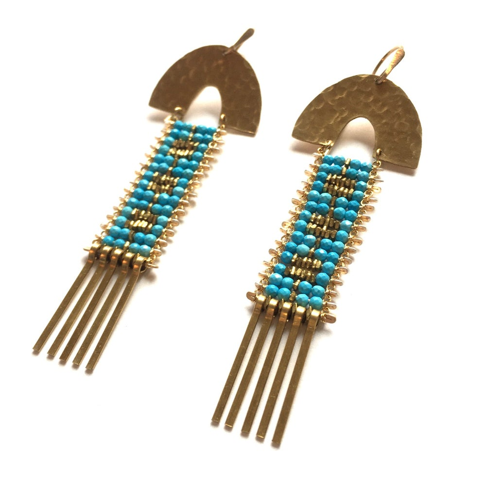Image of Arcus Turquoise and Gold Earrings
