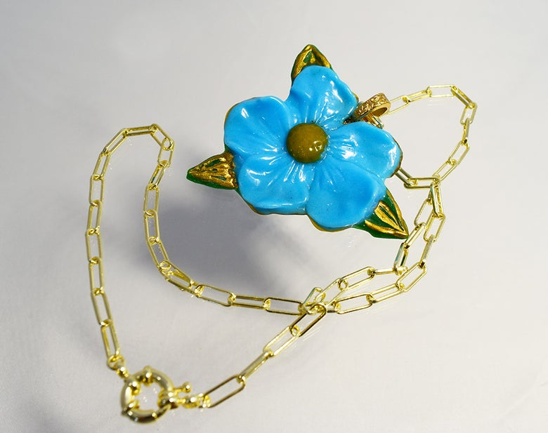 Image of Fused Glass Pendant Blue Forget Me Not