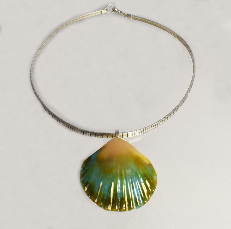 """Image of Fused Glass Pendant """"A Trouv'e Objets"""" Found Objects"""
