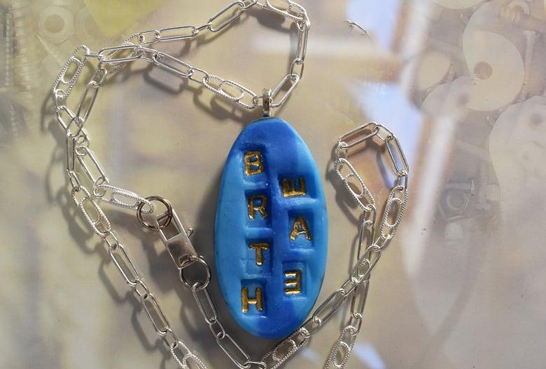 "Image of Pate de Verre Glass Pendant ""BREATHE"" Words Matter Series"