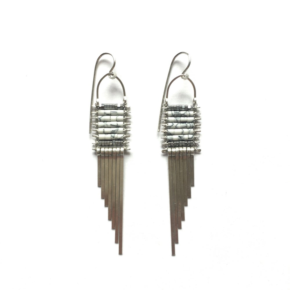 Image of Silver and Howlite Asymmetrical Earrings