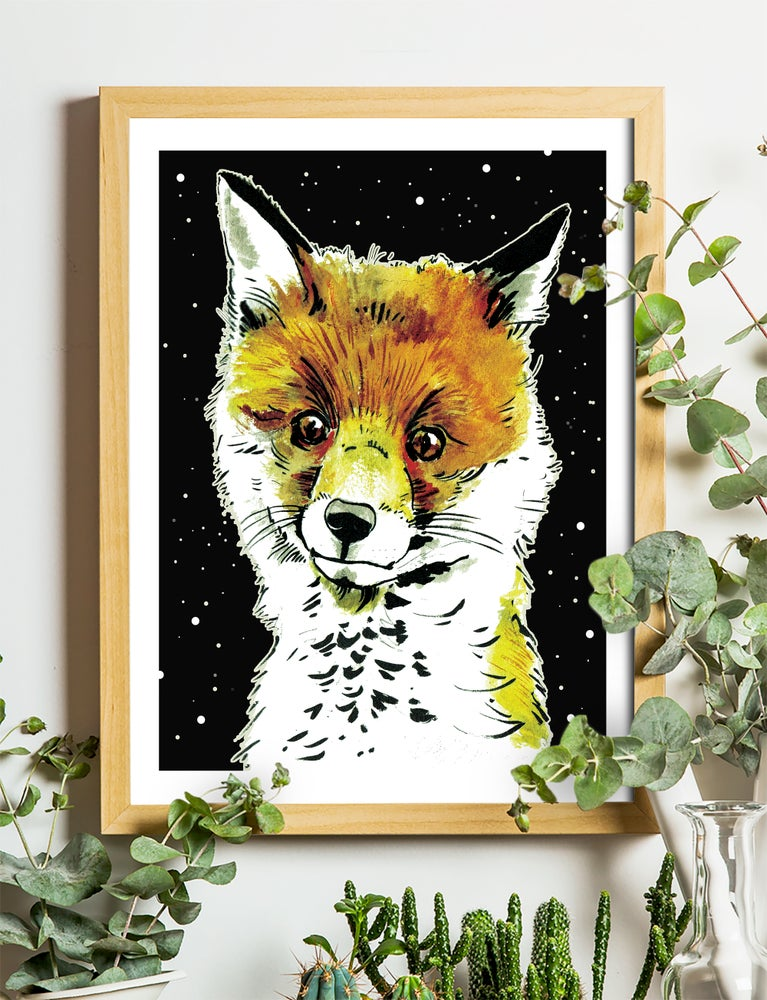 """Image of Fox Cub At Night Art Print Signed A3 Size (16"""" x 12"""")"""