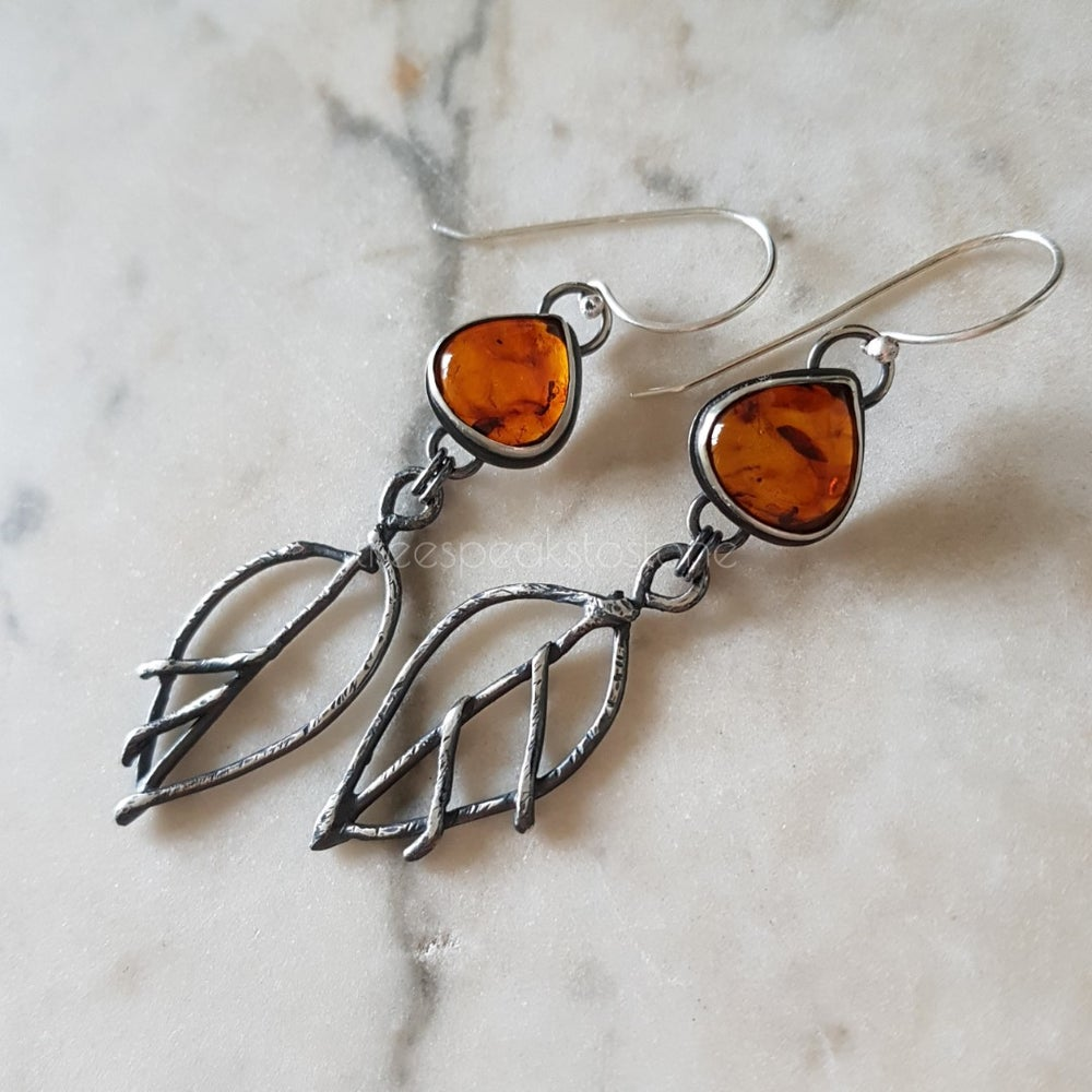 Image of Amber Leaf Earrings with Baltic Amber