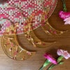 'Higher place' light turmeric crescent moon decorations - set of 3