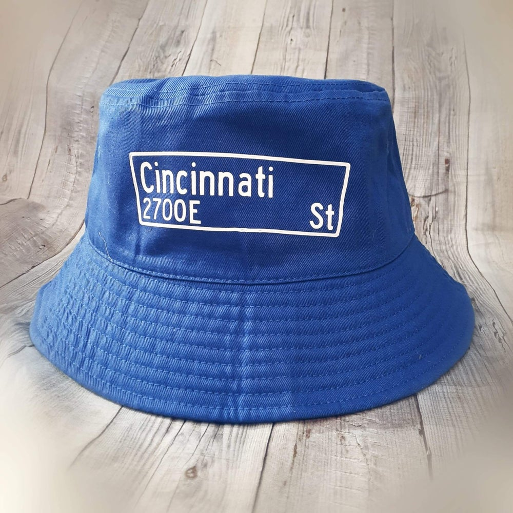 Image of Custome Blue Bucket Hat Street Name