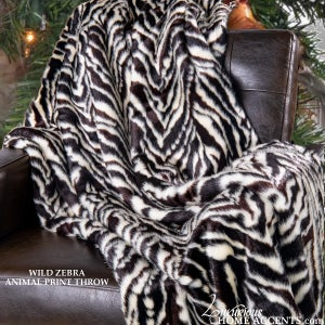 Image of Wild Zebra Black and White Throw