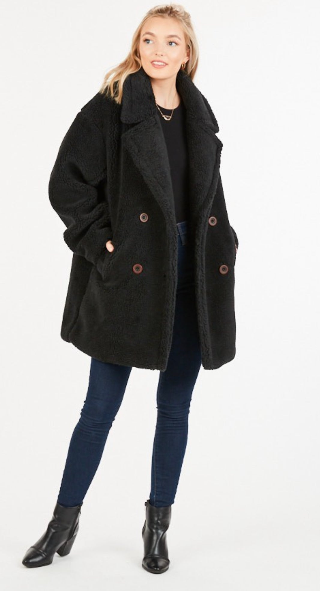 Image of OVER-SIZE TEDDY PEACOAT