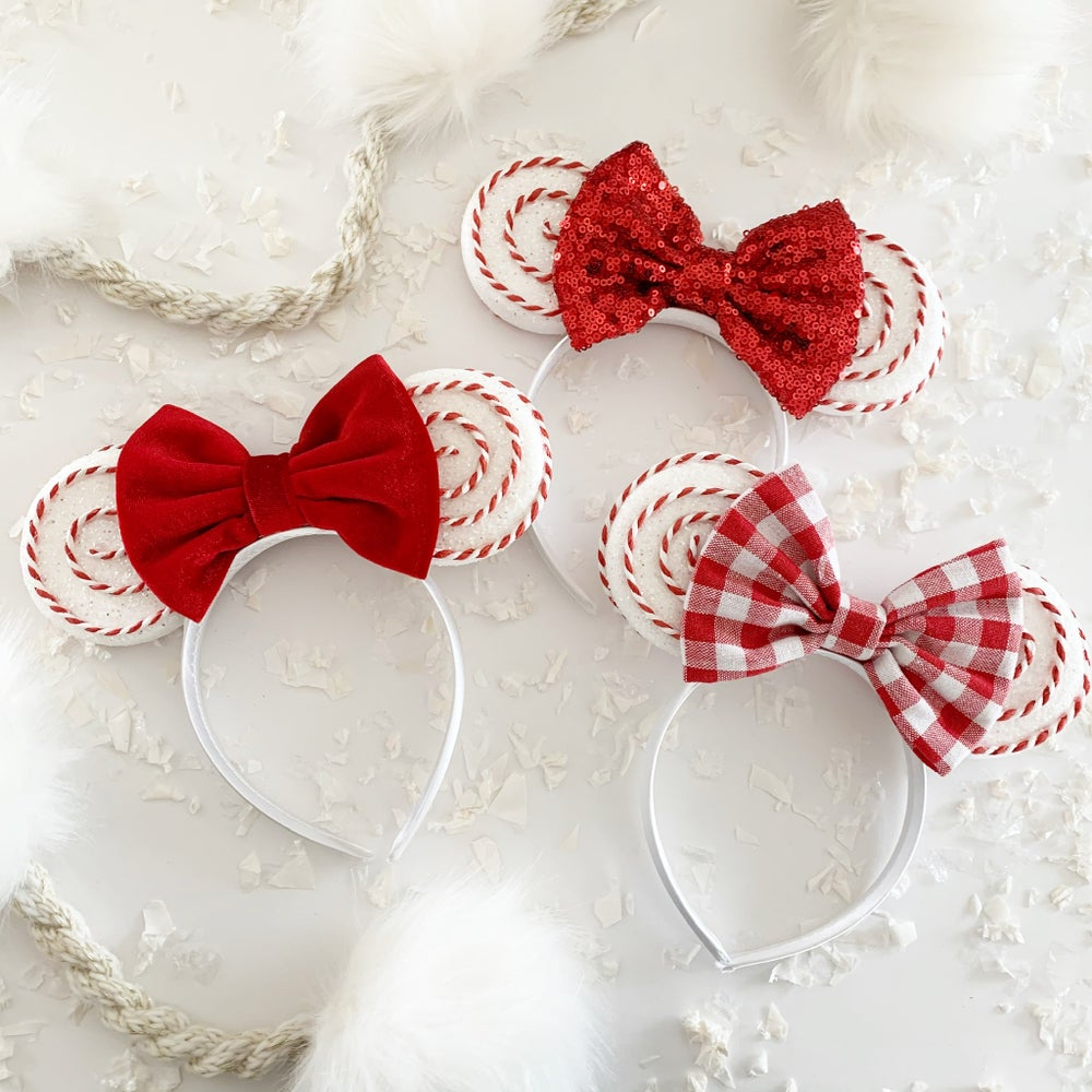 Image of Candy Cane Glittered Mouse Ears