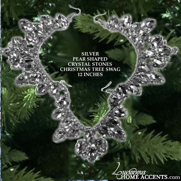 Image of Silver and Crystal Pear Shaped Christmas Ornament