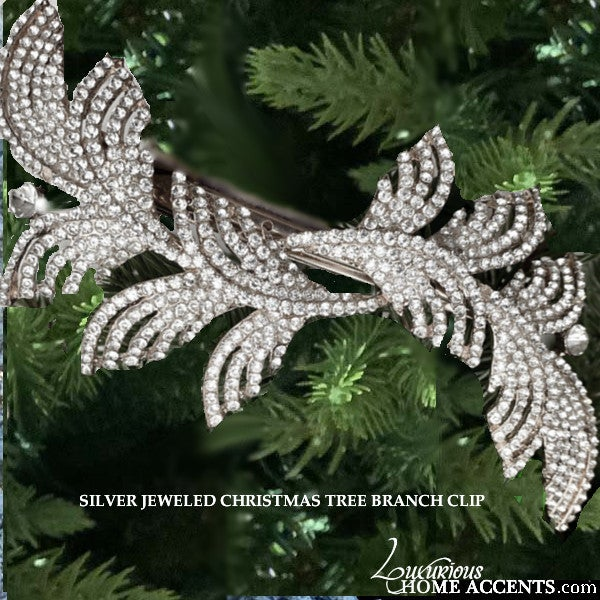 Image of Silver Jeweled Christmas Tree Branch Clip