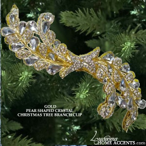 Image of Gold and Crystal Pear Shaped Christmas Tree Branch Clip