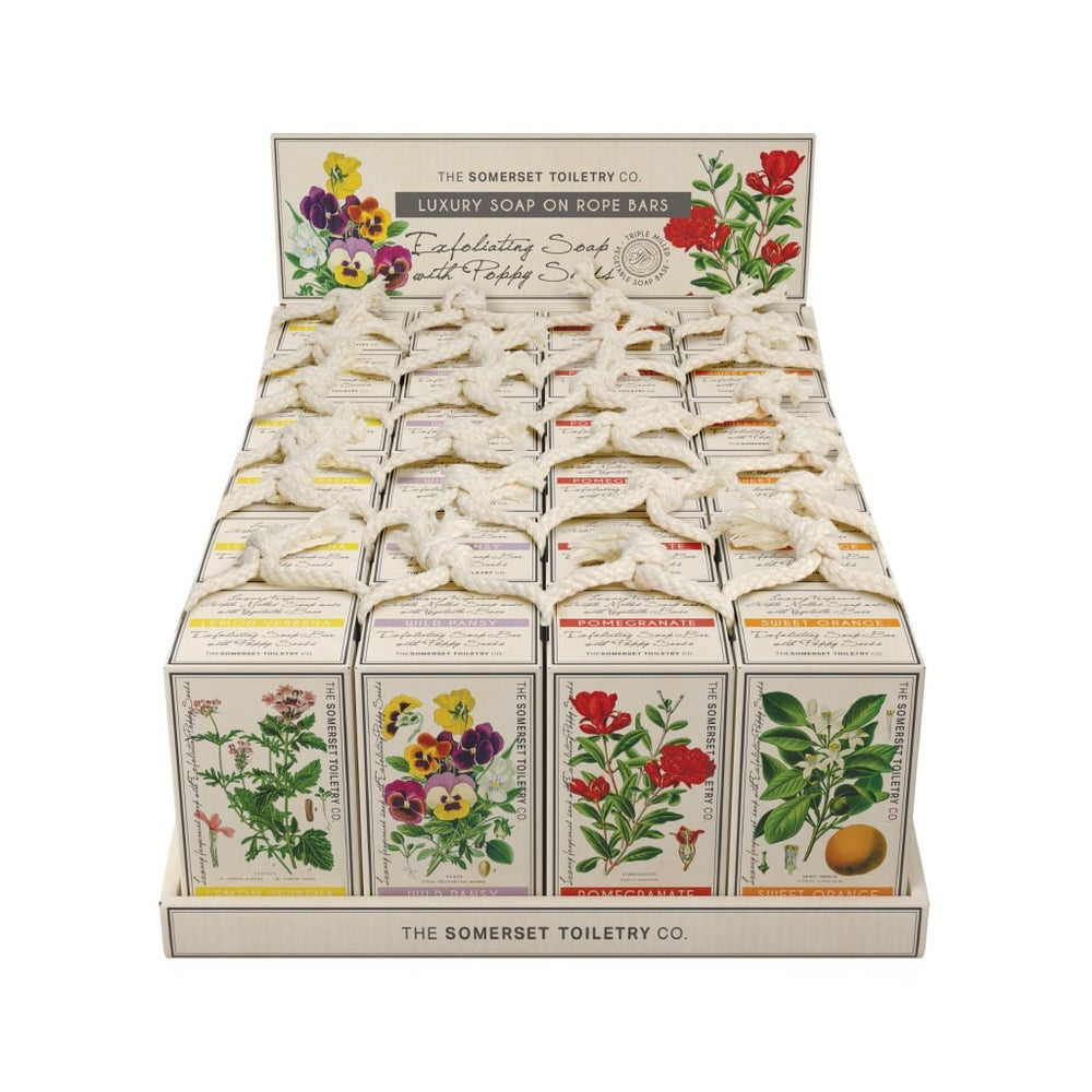 Image of Botanical Soaps on a Rope - Wild pansy - Pomegranate - Sweet Orange - Lemon Verbena