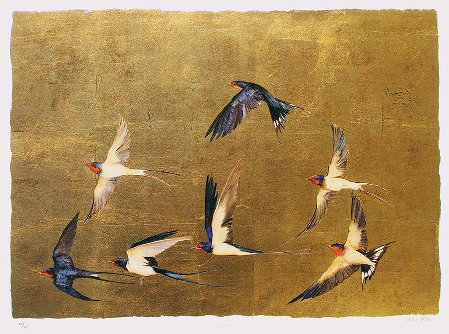 Image of JACKIE MORRIS - SWALLOWS - LIMITED EDITION SIGNED GOLD LEAF PRINT