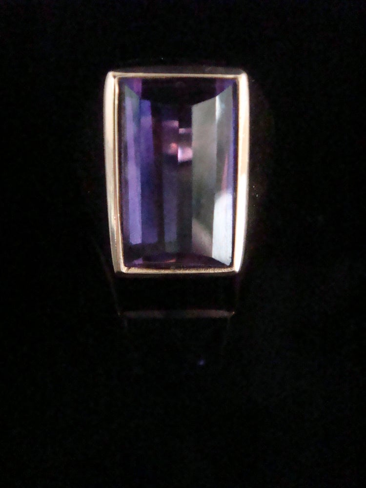 Image of Retro 18ct yellow gold large designer natural amethyst ring 9.5g