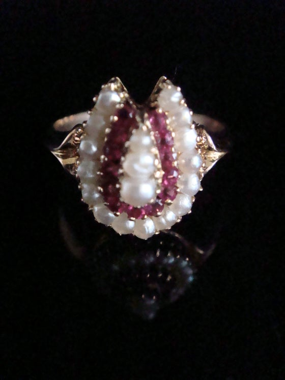 Image of French Edwardian 18ct rose gold natural pearl and Ruby horseshoe ring