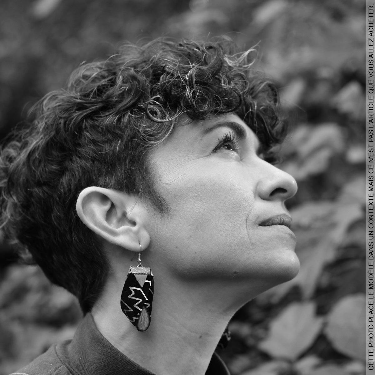 Boucles d'oreilles Léopard Noir