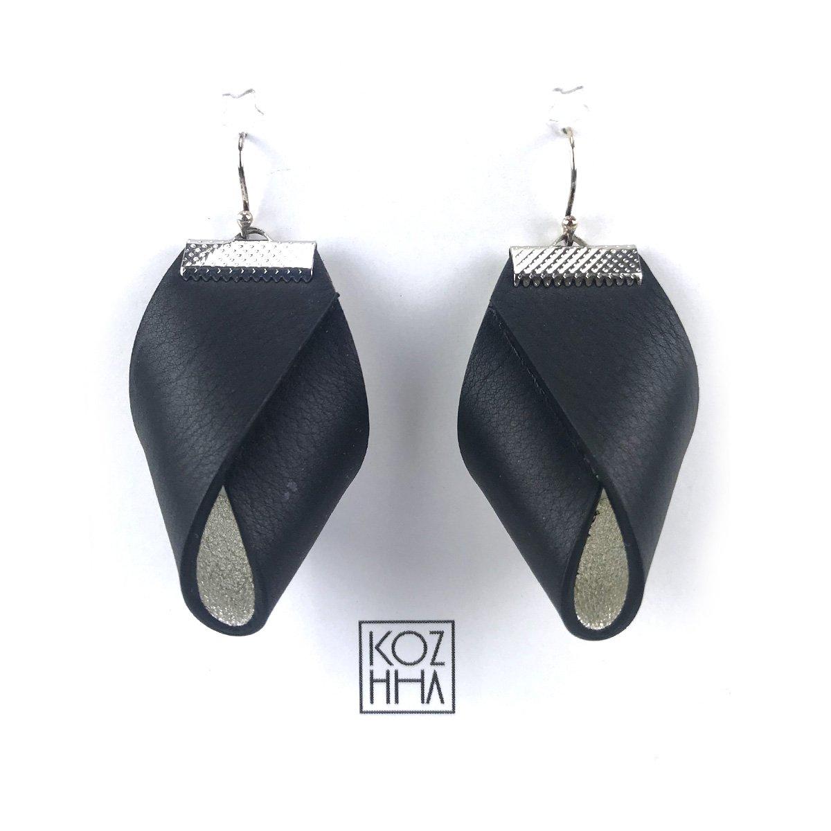 Boucles d'oreilles Noir Argent