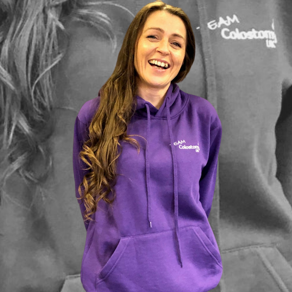 Image of Team Colostomy UK Purple Hooded sweatshirt