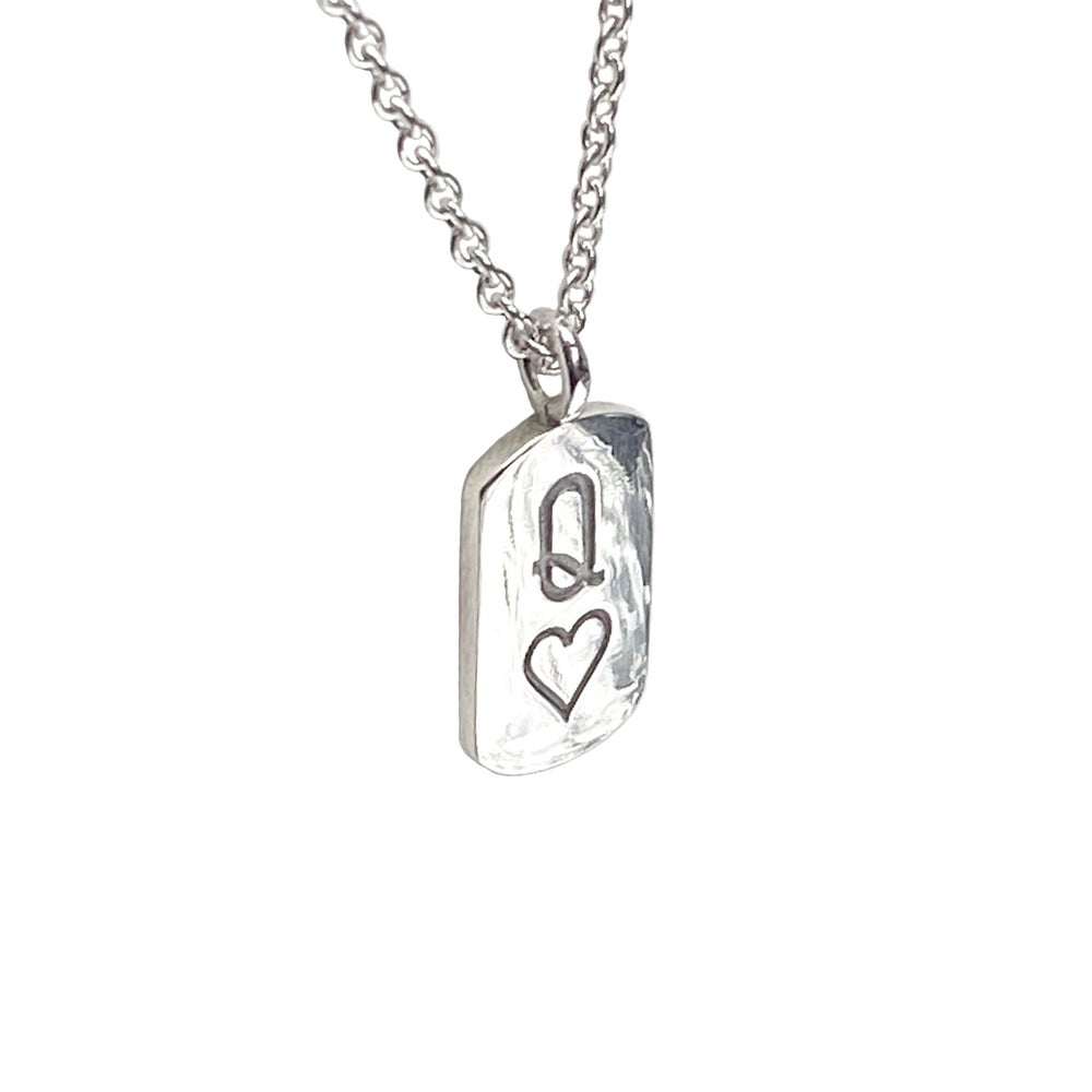 Image of Silver Queen of Hearts mini tag necklace