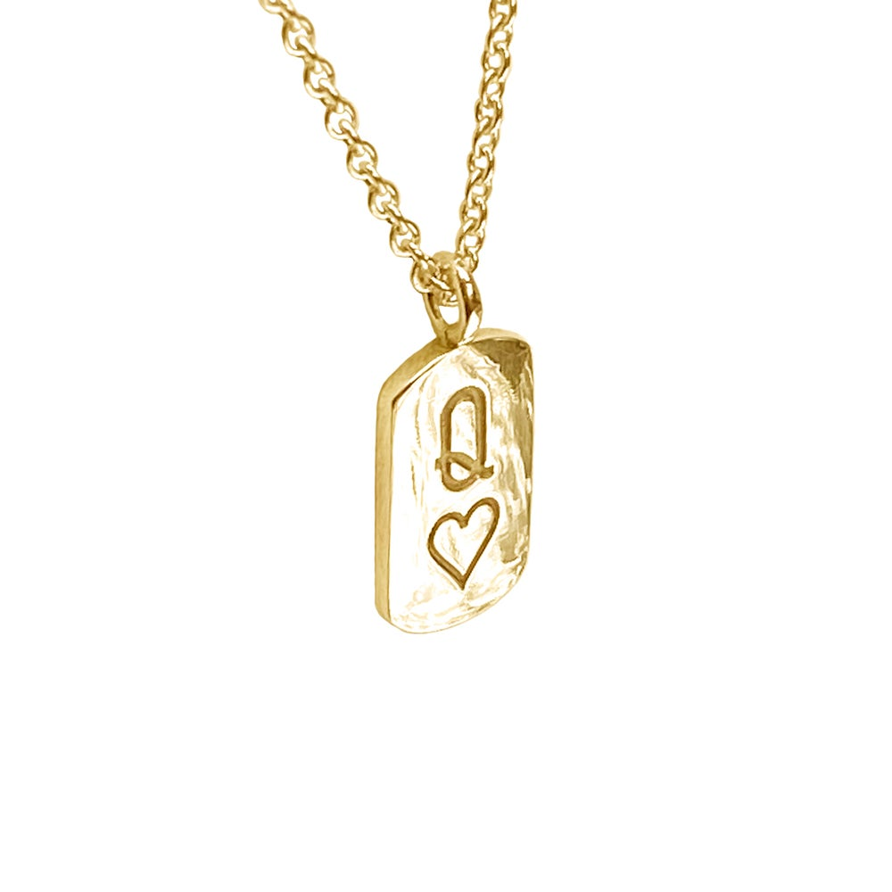 Image of Gold Queen of Hearts mini tag necklace