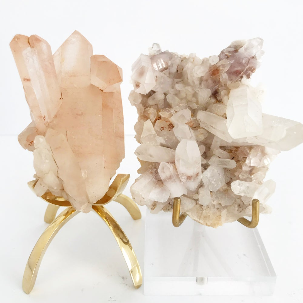 Image of Pink Quartz no.33 + Lucite and Brass Stand