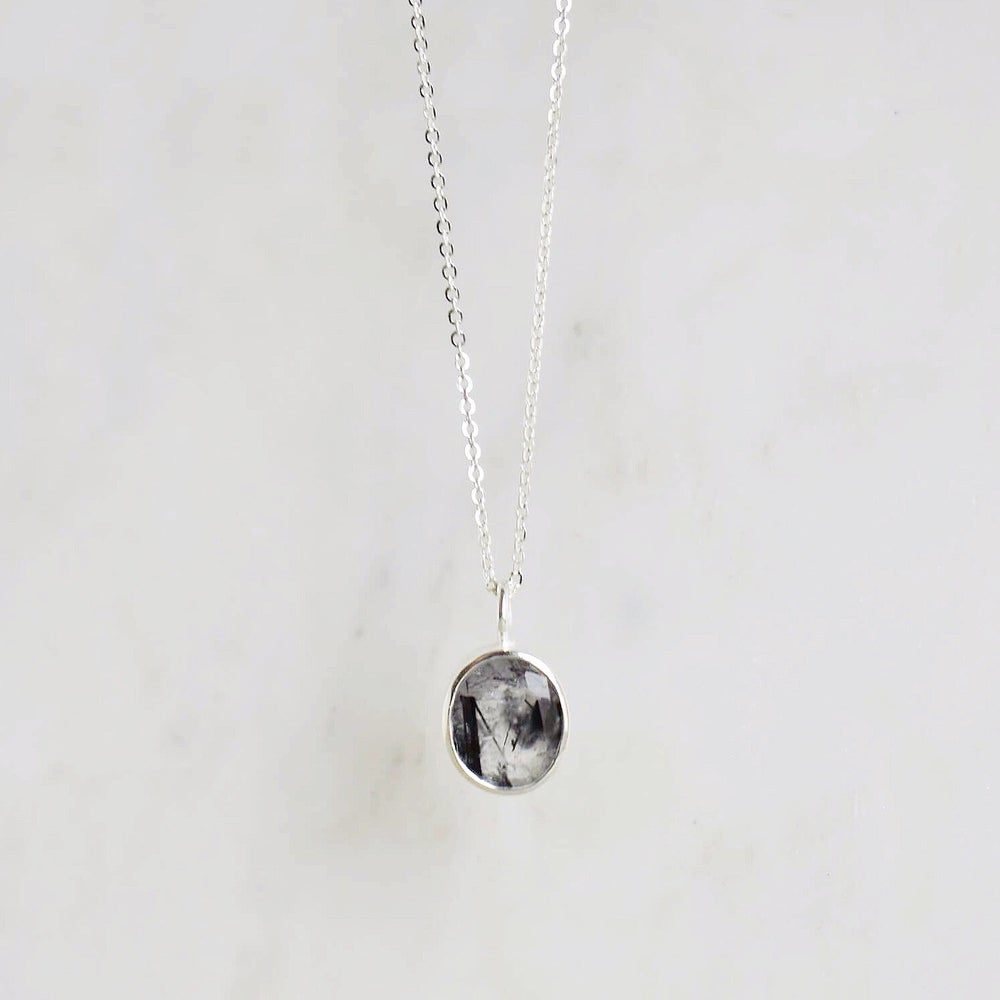 Image of Black Rutilated Quartz oval cut silver necklace