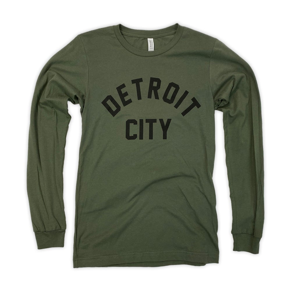 Image of Detroit City Long Sleeve T (Military Green)