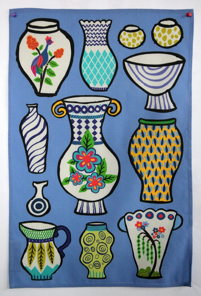 Image of Pottery Vases Tea Towel Blue - FREE SHIPPING
