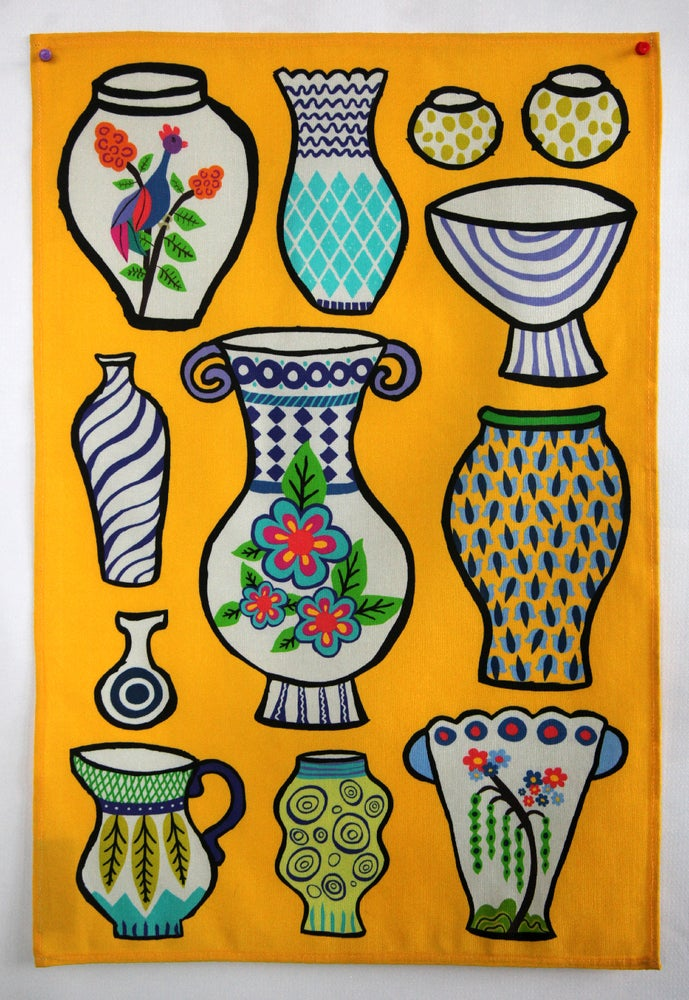 Image of Pottery Vases Tea Towel Bright Yellow - FREE SHIPPING