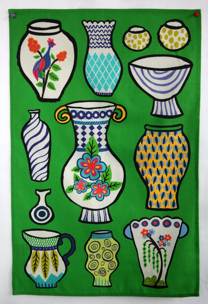 Image of Pottery Vases Tea Towel Bright Green Pre-Order - FREE SHIPPING