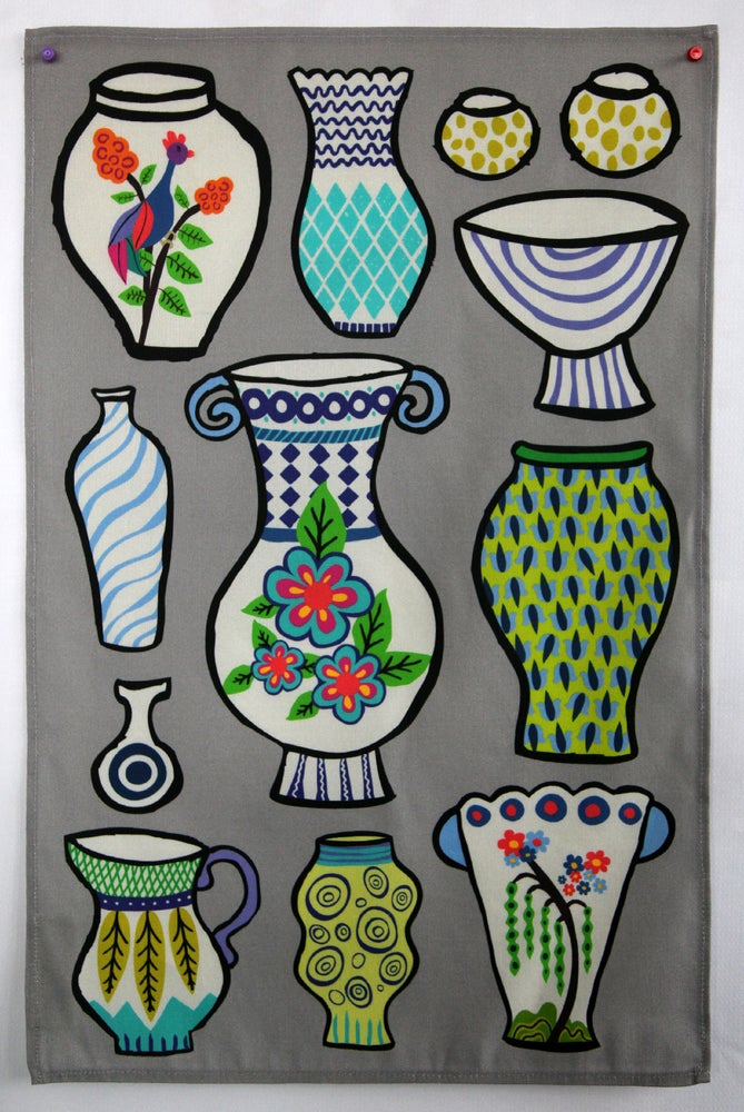 Image of Pottery Vases Tea Towel Gray Pre-Order - FREE SHIPPING