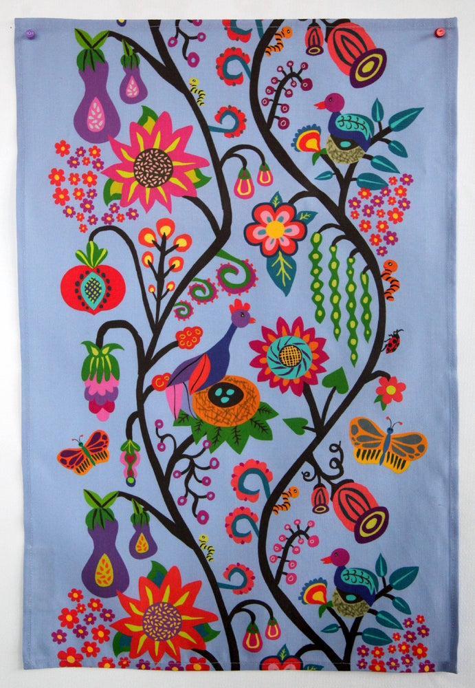 Image of Bountiful Life Tea Towel Blue - FREE SHIPPING