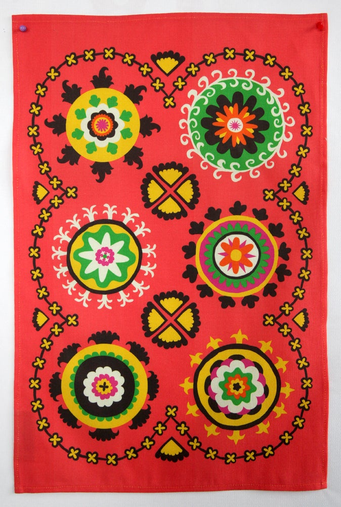 Image of Suzani Panel Tea Towel Coral Pre-Order - FREE SHIPPING