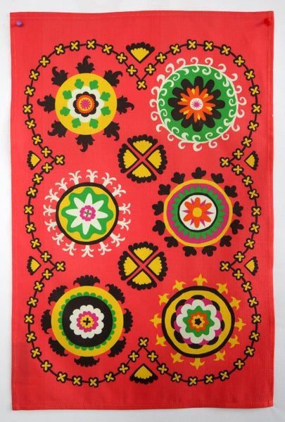 Image of Suzani Panel Tea Towel Coral - FREE SHIPPING
