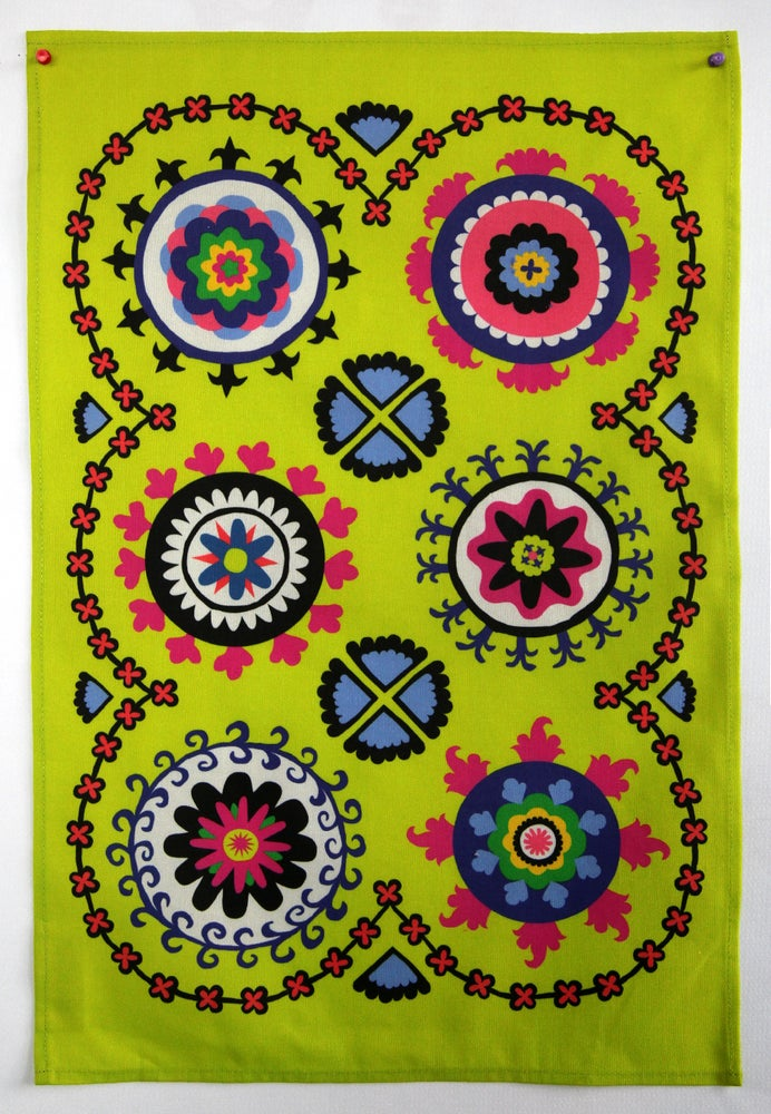 Image of Suzani Panel Tea Towel Lime - FREE SHIPPING
