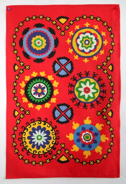 Image of Suzani Panel Tea Towel Red  - FREE SHIPPING