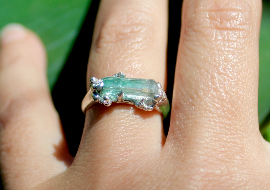 Image of Sea Foam Tourmaline Ring - Sterling
