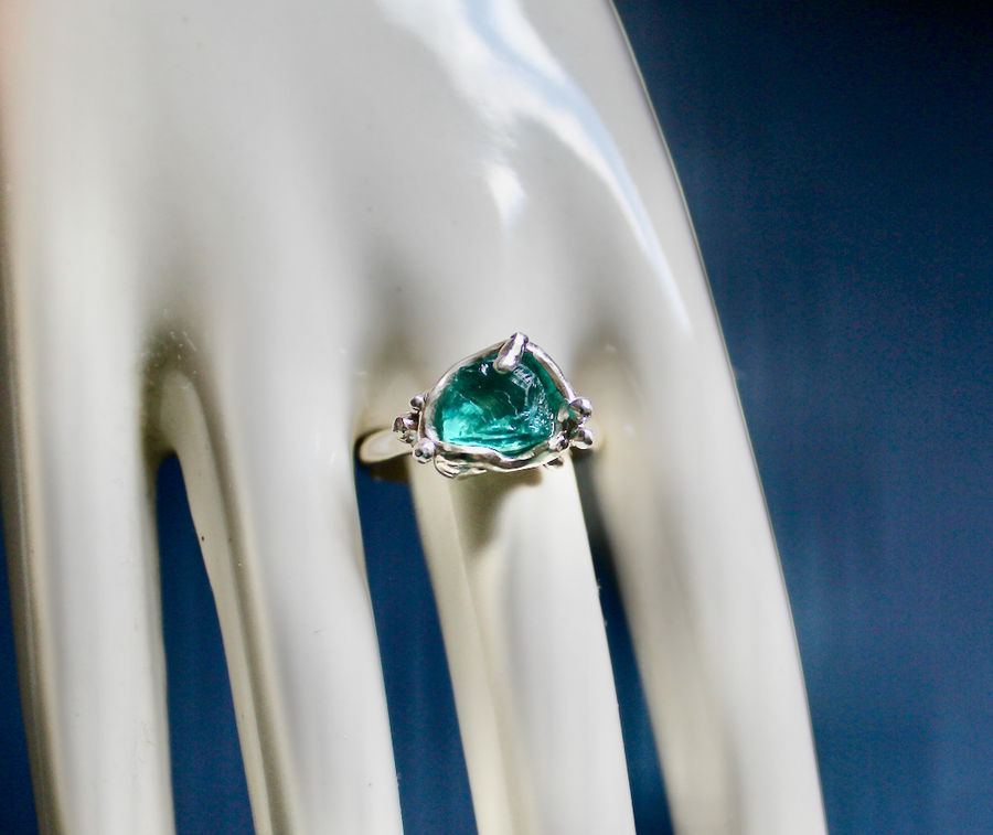 Image of Neo Blue Apatite 'pool' Ring.
