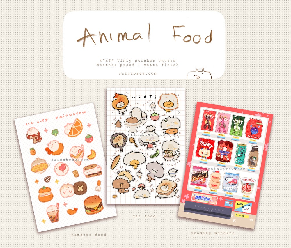 "Image of Animal Food Kawaii | 4""x6"" Sticker Sheets"
