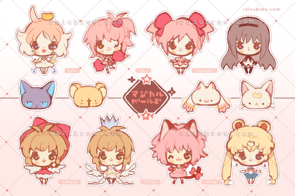 "Image of [PREORDER] Anime Magical Girls | 6""x4"" Sticker Sheets"