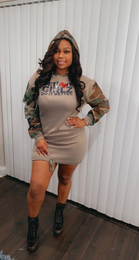 Image of Detroit Camo Hoodie dress
